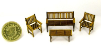 48th scale English Garden Furniture Set  Kit (Mahogany)